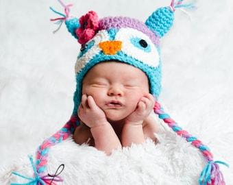 Custom Size Crochet Owl Hat (Girl) Sizes Newborn-5 years.