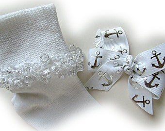 Kathy's Beaded Socks - White and Silver Anchor Beaded Socks and Hairbow, glitter socks, pony bead socks, silver socks