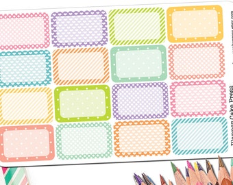 16 Half Box Planner Stickers | Half Box Stickers in Polka Dot Heart and Striped Pattern | Cute Rainbow Functional Stickers | Fits ECLP More