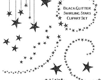 Black Star Clipart, Swirling Stars Glitter Clip Art, Instant Download, Commercial Use Clipart
