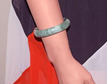 "Genuine Jade Jadeite Bangle Bracelet Translucent Green White - Measures 59 mm (2-5/16"") inside"
