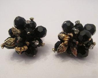Gorgeous Vintage Signed Vendome Flower & Leaf Earrings