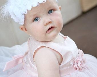 Baby headband, White Baby headband, crochet headband, baptism headband, Christening headband, baby girl headband, flower girl headband