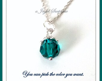 Emerald Birthstone Necklace, You choose the Color, Birthday Gifts, 10mm Faceted Crystal Birthstone Dangle May Jewelry Sapphire Garnet Ruby