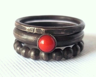Coral and Sterling Silver Stack Rings