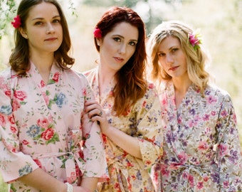 The Painter's garden. 3 lined cotton floral robes in a knee length. Bridesmaids robes. Bridal robe. Womens robes with pockets.