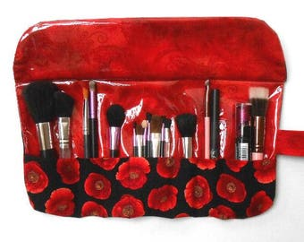 Travel Makeup Brush Holder in Red Floral Print With 7 Pockets, Brush Roll Up, Clear Vinyl Brush Storage, Makeup Brush Bag, Cosmetic Pouch