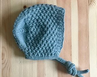 Vintage Style Baby Bonnet, Hat, Cap in Duck Egg Blue. 0-3 months.