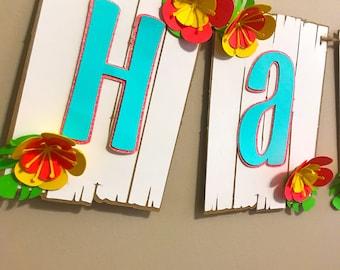 Luau Happy Birthday, Tropical Party Banner, Moana Party, Hawaiian Party Decor, Aloha Banner, Beach Party Decor, Tropical Flower Banner
