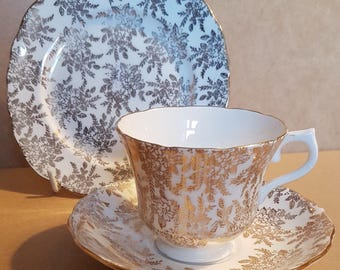 Royal Vale gilt chinz pattern trio - cup, saucer and side plate. Vintage
