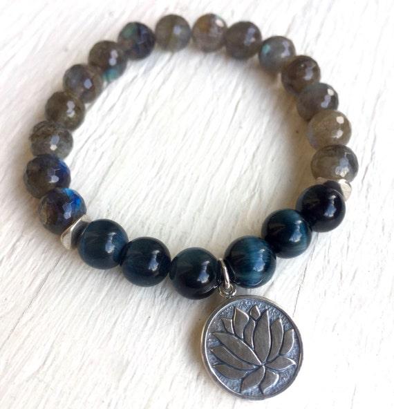 Lotus Bracelet, Blue Tiger Eye Mala Labradorite Bracelet Boho Bracelet Yoga Jewelry Mala Bracelet Yoga Beads Chakra Healing Third Eye