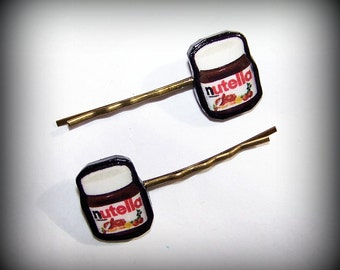 Handmade Polymer Clay Nutella Antique Bronze Bobby Pins Set