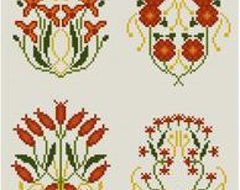 Set of 8 Old-Fashioned Floral Designs Cross stitch pattern PDF