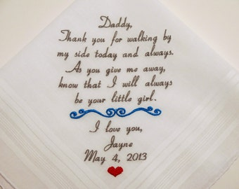 Father of the Bride Hankerchief Dad Wedding Handkerchief Personalized Wedding Handkerchief gift for Dad Custom Embroidered Napa Embroidery