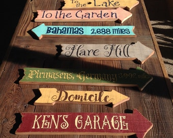 Rustic Directional Signs, Outdoor Signs, Beach Signs, Garden Signs, Wedding Signs, Directional Signs. Vintage look Signs, Directional Signs