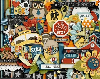 On Sale 50% Smarty Pants School Digital Scrapbooking Kit for Digi Scrapping and Crafts