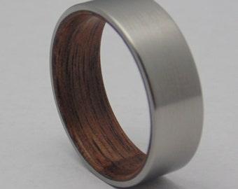 Mens Titanium and wood ring Walnut wood lined titanium wedding band