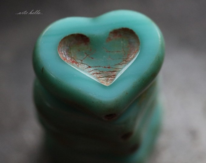 sale .. TURQUOISE THUMPER .. 4 Premium Picasso Czech Heart Beads 14x12mm (5670-4)