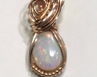 White Opal in Rose gold setting