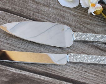 FAST SHIPPING!! Silver Swarovski Crystal Cake Knife and Server Set, Wedding Cake Server and Knife, Gold Cake Server and Knife