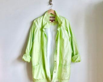 Lime Green Neon Vintage Windbreaker / Lined Electric Green Jacket / Slouchy Oversized 80s Windbreaker