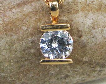 Vintage Minimalist Rhinestone Pendant, Clear Rhinestone / Crystal, Gold Tone Metal, Chain, Signed KOREA