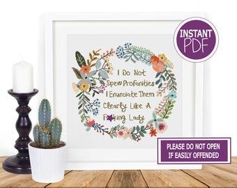 Subversive Cross Stitch Pattern, Cross Stitch Chart , Subversive Sweary Modern Floral Wreath Cross Stitch Chart by Peppermint Purple