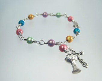 Colorful Miracle Bead Rosary Bracelet with Your Choice Saint or Medal