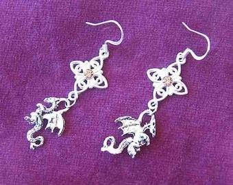 DRAGON FANTASY Diamond Shape Drop Dangle Earrings w/Swarovski Crystal Rose Color