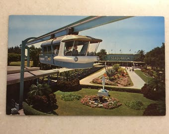 Vintage Fl Postcard Miami Seaquarium Space Rail Miami Florida Monorail