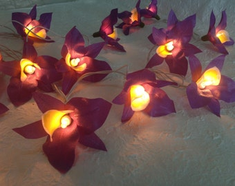 20 Battery Powered LED Purple Orchid string lights for party and decoration, fairy lights