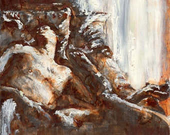 Abstract Nude Figure Painting, Large Format Wall Art, Large Nude Wall Art, thepaintedgrove