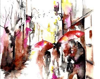 Paris Travel Print, Watercolor Illustration, Paris Watercolor Painting, Cityscape Romance, Lana's Art, Travel Wanderlust Illustration