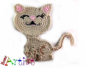 Crochet cat applique etsy cat pattern crochet applique dt1010fo