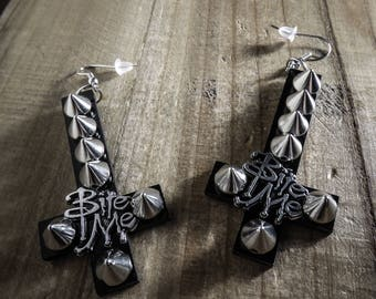 Silver earrings Cross Vampire Bite Me Spikes