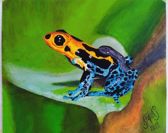 Oil painting Frog yellow and blue
