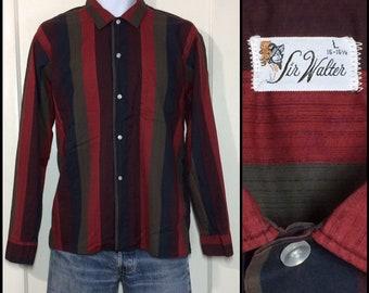 1950s 1960s dark red brown black burgundy wide vertical stripe cotton shirt size large by Sir Walter rockabilly beatnik grunge punk