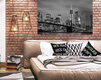 Brooklyn, Bridge Print, Digital Print, Black and White Print, New York Print, City Print, Bridge Art, Minimalist Poster, Bridge Print Art