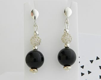Onyx and silver balls earrings