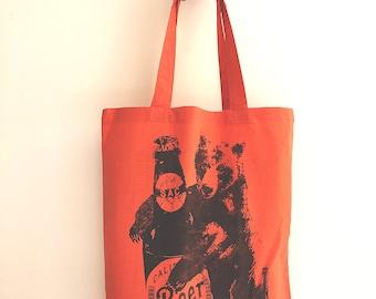 BEER HUG Bear- Eco-Friendly Market Tote Bag - Hand Screen printed (Ships FREE!)