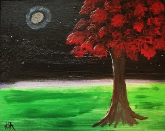 Marked 1/2 price Red Tree in Moonlight original painting on canvas