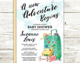 Travel Themed Wanderlust Luggage Traveler, A New Adventure Begins Baby Shower Invite, Printable Invite Shower Party Invitation