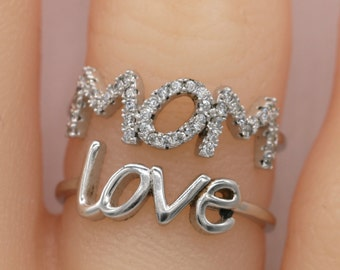 MOM Love Sterling Silver Ring/Mom Ring/Love Ring/Statement Ring/Mother's Day Gift S105