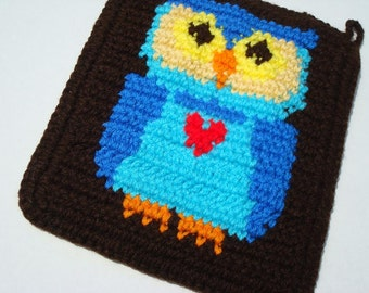 Set of Two Blue Owl Potholders, Brown Potholder,  Crochet, Crocheted Potholder, Pot Holder, Hot Pad, Kitchen, Bird, Gift MADE TO ORDER