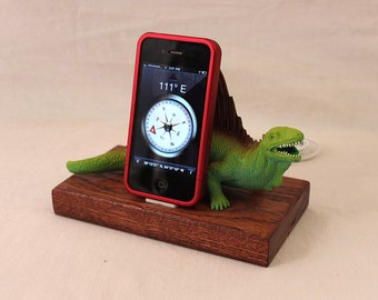 iPhone - iPod Dock -Charger and Sync Station - Oak -  Big Green Dino - Scary - One of a Kind - Dinosaur