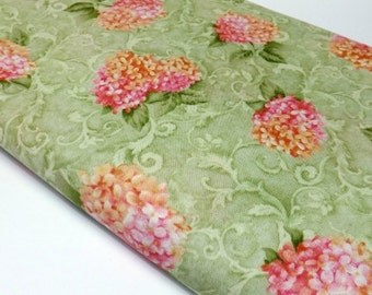 Classic Garden Cynthia Coulter 42267 333 Green Pink Coral Hydrangeas Fabric Quilting and Sewing