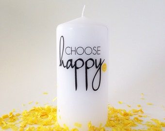 Choose Happy Pillar Candle