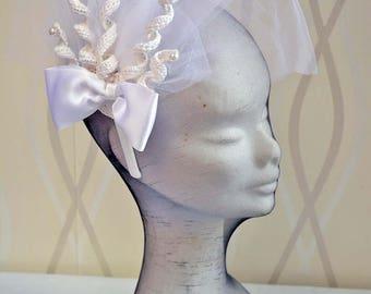 Wedding Crochet  Fascinator and Mini Hats , Bridal Crochet Veil  Headpiece,Women Bridal Spiral Hair Accessories, Crochet Wedding Spiral