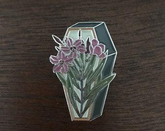 Oleander on a Coffin Enamel Pin