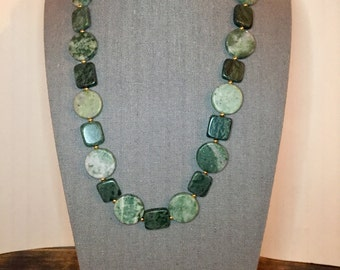 "Green Jasper, Marble, & Gold Beaded Necklace 23"", beaded necklace, gift for women mom sister best friend wife girlfriend"
